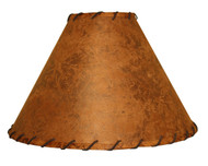 Rawhide Lamp Shade with Leather Trim 15 inch