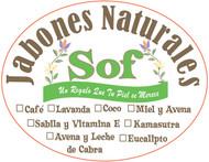 Sticker Ovalado • Ejemplo de logo • Jabones Naturales Sof • Guayama Puerto Rico