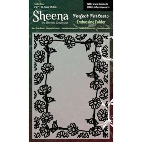 Genuine new Sheena Douglass 5x7 inch Embossing Folder - Daisy Chain Border. These embossing folders are universal fit and can be used on most die cutting machines including Xcut Xpress, Sizzix Big Shot, Spellbinders Grand Calibur and Craftwell eBosser. Can be used with paper, cardstock, vinyl, vellum, adhesive-back paper and more. Ideal for cardmaking and scrapbooking.