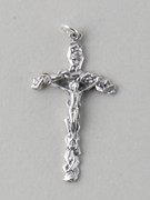 Chain Size: Curved CRUCIFIX SILVER - 43MM