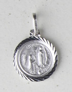 Sterling Silver Round Medal, LOURDES