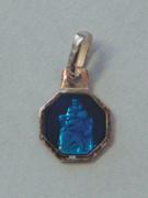Sterling Silver/Blue Enamel Watch Medal: ST CHRISTOPHER