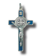 St Benedict Crucifix: 8cm Blue (CR8SBB)