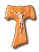 Wall Crucifix: TAU Wood 13cm (CRT13)