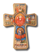 Wall Crucifix: Wood Holy Trinity 39cm (CRJ004)
