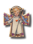 Wall Cross: Wood Angel of God 12cm (CR1347)