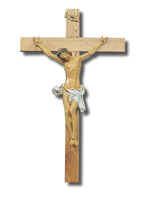 Large Wall Crucifix: Light Wood 90cm