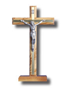 Standing Crucifix, Olive Wood/Metal 27cm (CROPF25B)