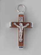 Crucifix Pendant: Wood 3.5cm Brown