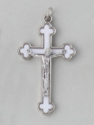 Crucifix Pendant: Enamel Inlay 6cm White
