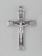 Crucifix Pendant: 4 Basillica 5cm Silver
