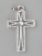 Cross Pendant: Silver Rope Look 2.5cm (CR8325S)