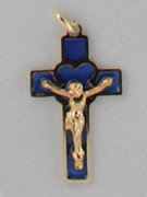 Crucifix Pendant: Blue Glass Gilt 3cm