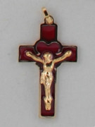 Crucifix Pendant: Red Glass Gilt 3cm