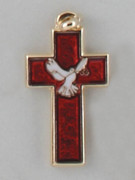 Cross Pendant: Holy Spirit Red Glass 3.5cm