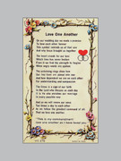 Laminated Holy Verse Cards, Love One Another with Symbol
