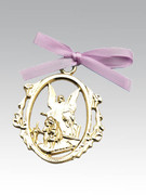 Crib Medal: Gold Guardian Angel Pink