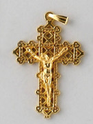 Small Crucifix: Gold Filigree 40mm (CR7535G)