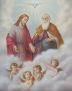Wood Framed Print: Holy Trinity with Angels