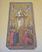 Gold Framed Print: Trinity Crucifix Rectangle Plaque