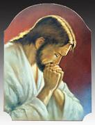 WOOD PLAQUE - JESUS PRAYING