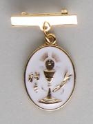 Communion Medal Oval Chalice Gilt Pin (MEC28B)