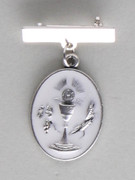 Communion Medal: Oval Chalice Silver Pin (MEC28SB)