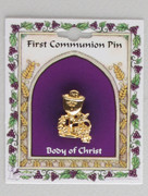 Communion Pin, Gold Plated Chalice and Grapes (TT183G)