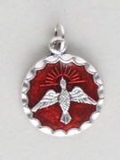 Confirmation Medal: Round Spirit with Red Enamel