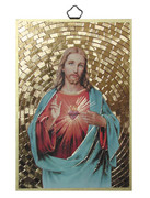Gold Foil Wood Plaque: Sacred Heart of Jesus (PL1701)