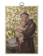 Gold Foil Wood Plaque: St Anthony (PL1711)