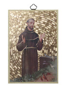 Gold Foil Wood Plaque: St Francis (PL1712)