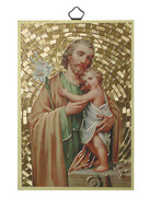 Gold Foil Wood Plaque: St Joseph (PL1716)