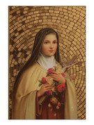 Gold Foil Wood Plaque: St Theresa (PL1718)