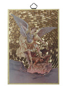 Gold Foil Wood Plaque: St Michael (PL1719)