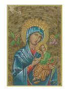 Gold Foil Wood Plaque: Our Lady Perpetual Succour (PL1733)