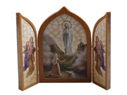 Tri-fold Plaque: Our Lady of Lourdes (PL112408)