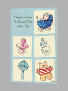 Packet Cards (6): Baby Boy: Congratulations/Pram