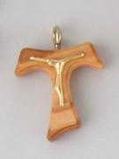 Tau Crucifix (Small): Olive Wood 25mm No Cord (CRT1)