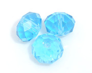 Crystal Beads 6mm Rondelle Aqua  x 100