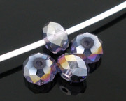 Crystal Beads 6mm Rondelle Purple AB  x 200