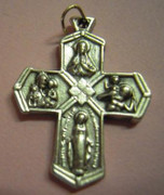 Silver Cross (Small): &quot;I Am A Catholic&quot; 5 Way Cross 25mm