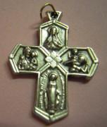 "Silver Cross (Small): ""I Am A Catholic"" 5 Way Cross 25mm"