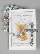 Communion Rosary & Leaflet: Blue 5mm bead (RX726B)