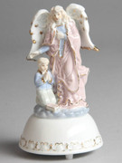 Porcelain Guardian Angel with Boy Musical (33073)