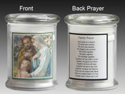 Glass Candle Holder LED battery: Holy Family