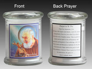 Glass Candle Holder LED battery: Padre Pio