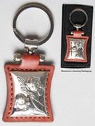 Key Ring: Sterling Silver/Leather: Angels