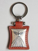 Key Ring: Sterling Silver/Leather: Dove