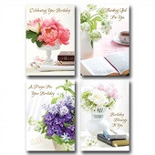 Boxed Cards (12) Birthday Lustrous (CB11540)